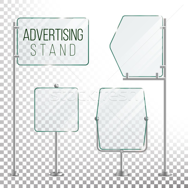 Glass Screen Banner Set Vector. Empty Advertising Display For Your Business. Vector Illustration Stock photo © pikepicture