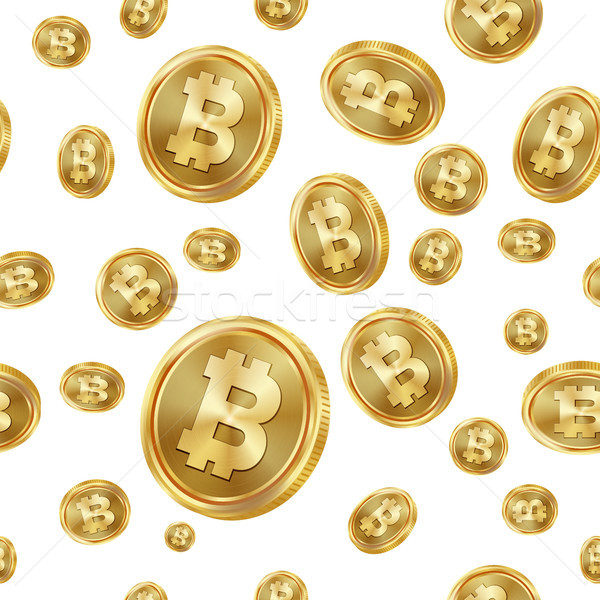 Bitcoin Seamless Pattern Vector. Gold Coins. Digital Currency. Fintech Blockchain. Isolated Backgrou Stock photo © pikepicture