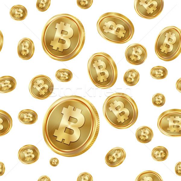 Bitcoin vecteur pièces d'or numérique monnaie Photo stock © pikepicture