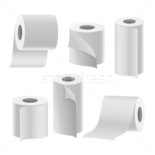 Stock fotó: Papír · szalag · zsemle · szett · vektor · fürdőszoba