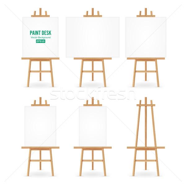 Festék asztal vektor művész festőállvány szett Stock fotó © pikepicture