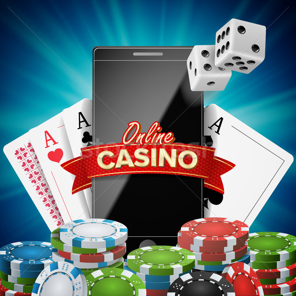 Online Casino Banner Vector. Realistic Smart Phone. Explosion Bright Chips, Playing Dice, Dollar Ban Stock photo © pikepicture