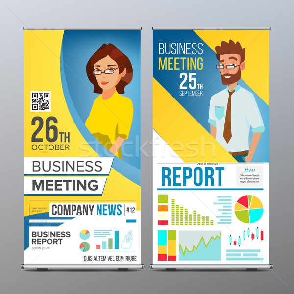 Roll Up Display Vector. Vertical Poster Template Layout. Businessman And Business Woman. Parade, Eve Stock photo © pikepicture
