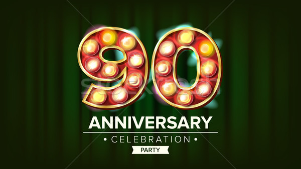 90 Years Anniversary Banner Vector. Ninety Celebration. 3D Glowing Element Digits. For Happy Birthda Stock photo © pikepicture
