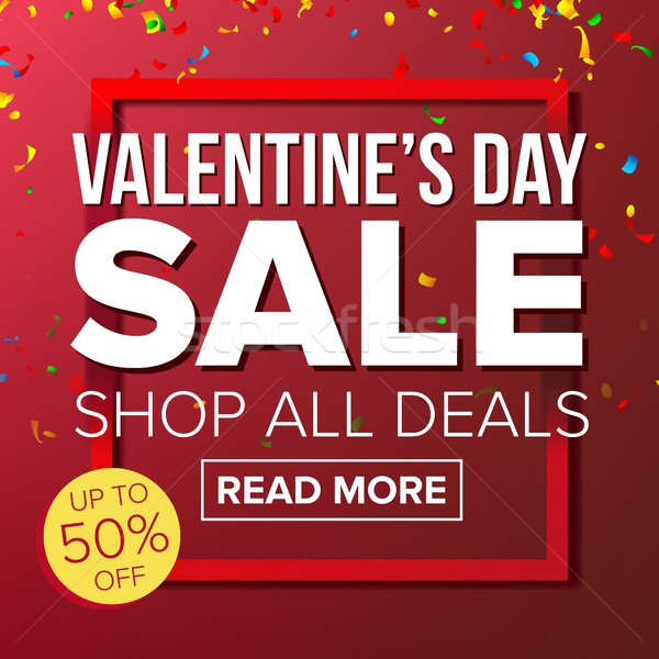Valentine s Day Sale Banner Vector. Vector. Love Discounts Poster. Business Advertising Illustration Stock photo © pikepicture