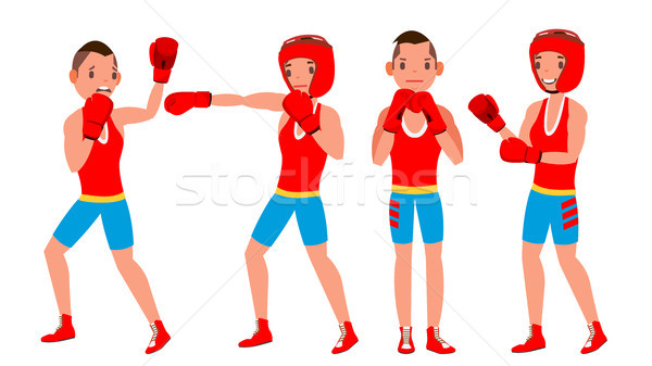 Boxer Player Vector. Strength Male Athlete In Action. Training And Fighting. Flat Cartoon Illustrati Stock photo © pikepicture