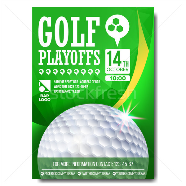 Golf Poster Vector. Design For Sport Bar Promotion. Golf Ball. Modern Tournament. A4 Size. Champions Stock photo © pikepicture