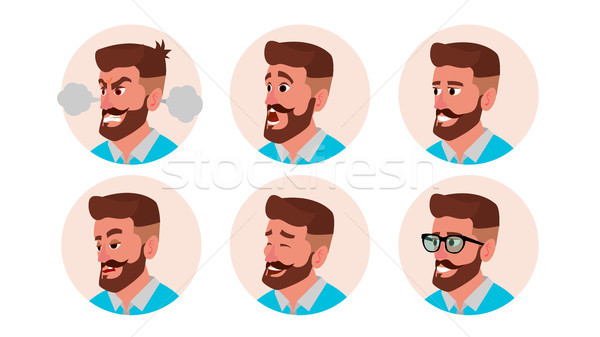 Stock photo: Character Business People Avatar Vector. Bearded Man Face, Emotions Set. Creative Default Avatar Pla