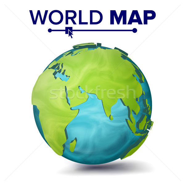 World Map Vector. 3d Planet Sphere. Earth With Continents. Eurasia, Australia, Africa. Isolated Illu Stock photo © pikepicture