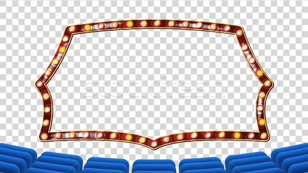 Blue Theater Curtain With Light Frame Vector. Blue Background And Light Bulbs Frame. Realistic Retro Stock photo © pikepicture