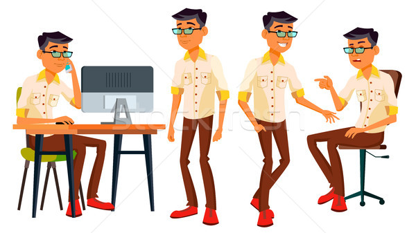 Office Worker Vector. Thai, Vietnamese. Facial Emotions, Gestures. Business Person. Poses. Animated  Stock photo © pikepicture