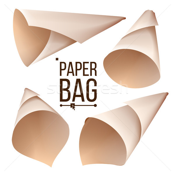 Paper Cone Bag Set Vector. Package, Container Sign, Icon. Different Views. Isolated Realistic Illust Stock photo © pikepicture