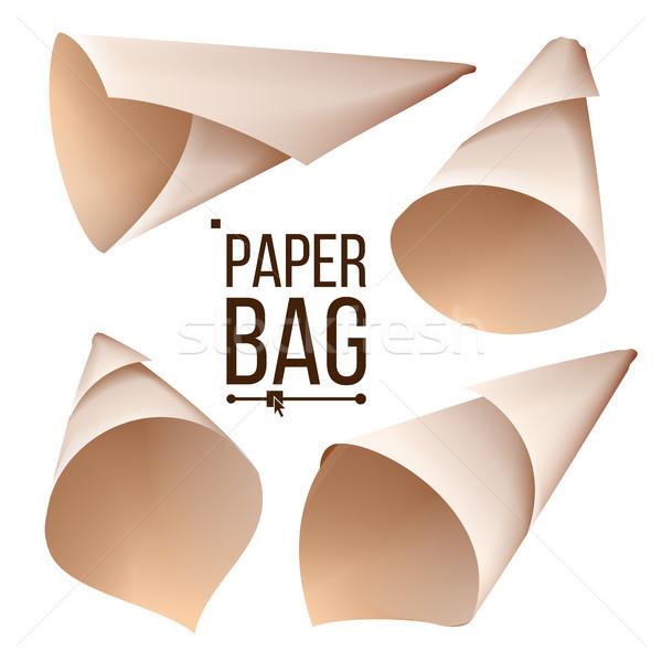 Papel cone saco conjunto vetor pacote Foto stock © pikepicture
