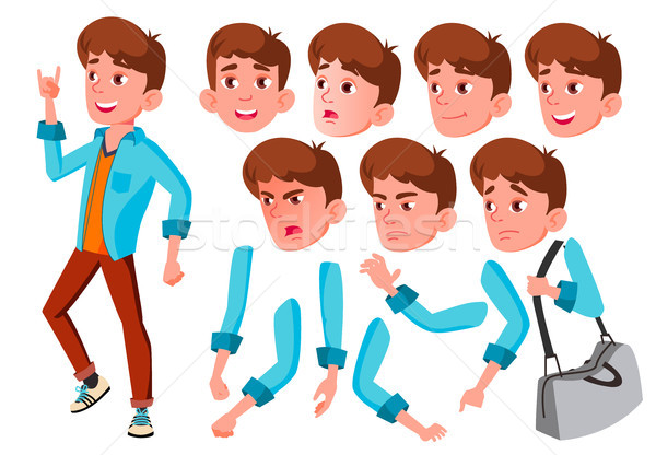 Teen Boy Vector. Teenager. Caucasian, Positive. Face Emotions, Various Gestures. Animation Creation  Stock photo © pikepicture