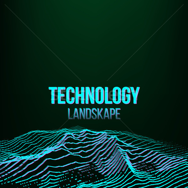 Abstract Digital Landscape Background Vector. Signal Noise. Big Data. Technology Illustration Stock photo © pikepicture