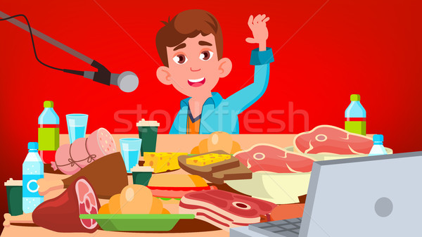 Mukbang Eating Show Vector. Guy. Food Challenge. Video Blog Channel. Illustration Stock photo © pikepicture