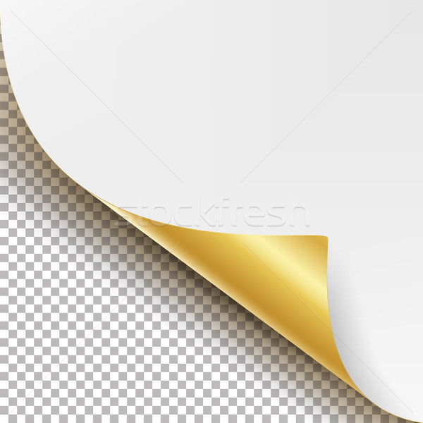 Curled Golden Metalic Corner Vector. White Paper with Shadow Mock up Close up Isolated on Transparen Stock photo © pikepicture
