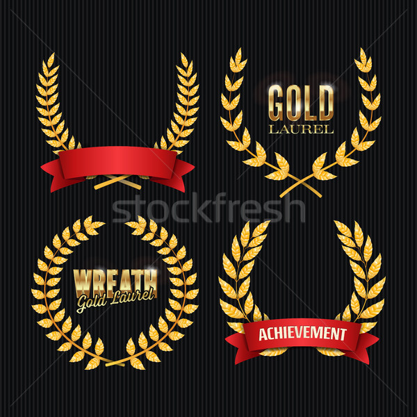 Gold Laurel Vector. Set Stock photo © pikepicture