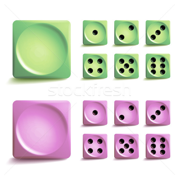 Playing Dice Vector Set. Different Variants Game Cubes Isolated. Aauthentic Collection Icons In Real Stock photo © pikepicture