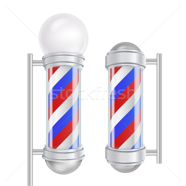 Barber Shop Pole Vector. Red, Blue, White Stripes. Good For Design, Branding, Advertising. Isolated  Stock photo © pikepicture