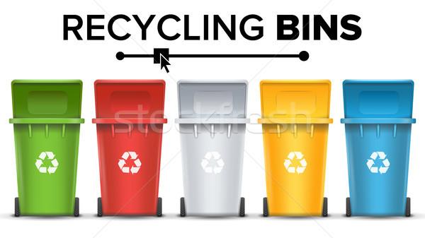 Geri dönüşüm çöp vektör ayarlamak kırmızı yeşil Stok fotoğraf © pikepicture