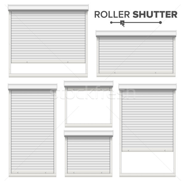 Stock photo: White Roller Shutters Vector. Window, Door, Garage, Storage Roller Shutters. Opened And Closed. Fron