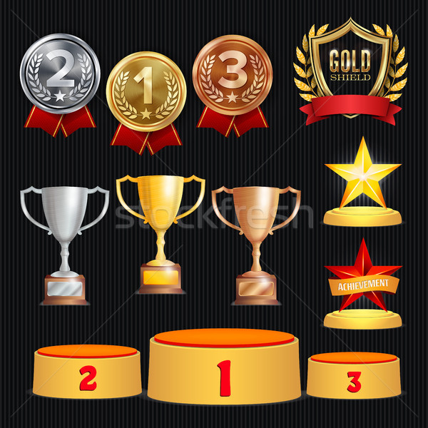 Award Trophies Vector Set. Achievement For 1st, 2nd, 3rd Place Ranks. Ceremony Placement Podium. Gol Stock photo © pikepicture