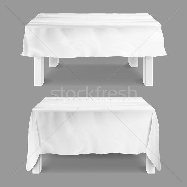 Table With Tablecloth Set Vector. Empty Rectangular Tables With White Tablecloth. Isolated On Gray I Stock photo © pikepicture