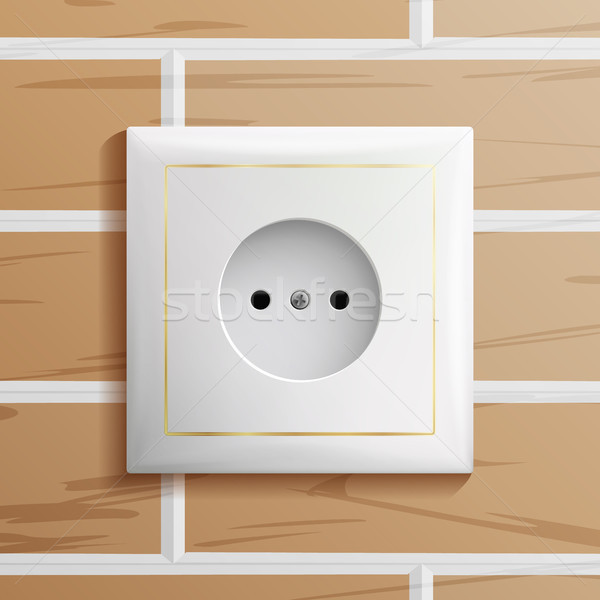 Electric Socket Vector. Modern European Plastic Electrical Outlet. Brick Wall. Realistic Illustratio Stock photo © pikepicture