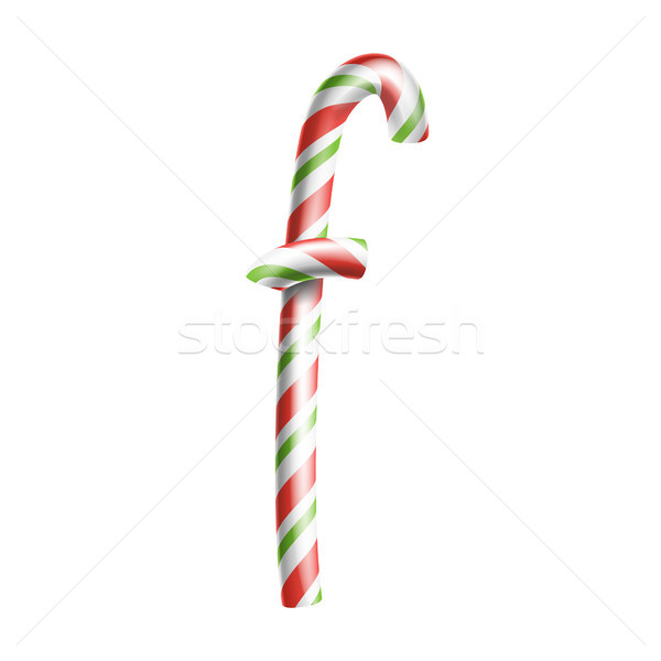 Letter F Vector. 3D Realistic Candy Cane Alphabet Symbol In Christmas Colours. New Year Letter Textu Stock photo © pikepicture