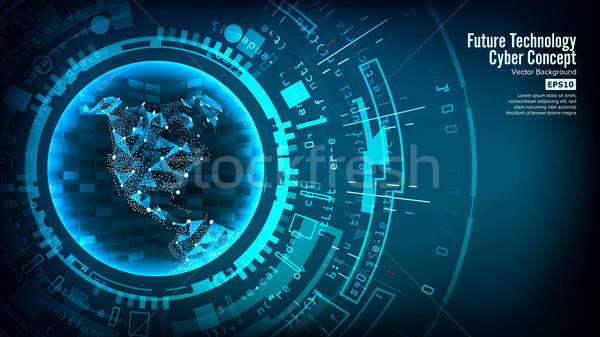 Futuristic Technology Connection Structure. Vector Abstract Background. Cyberspace. Electronic Data  Stock photo © pikepicture
