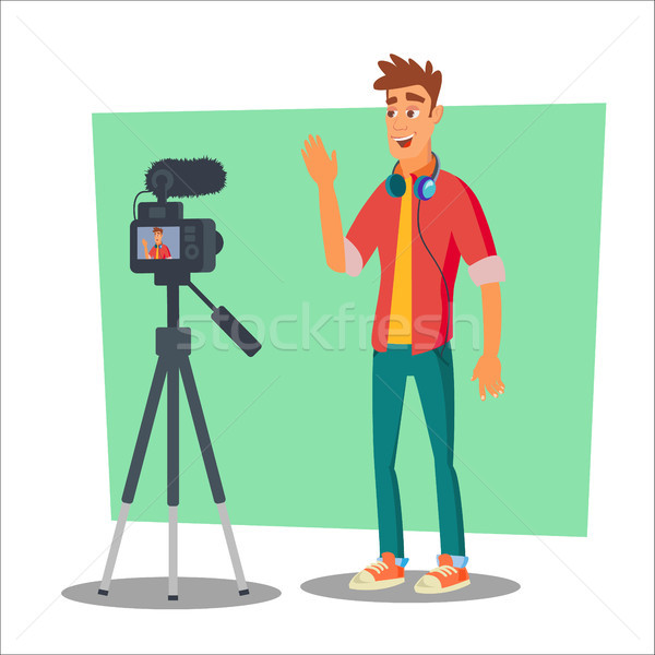 Video Blogger Vector. Cheerful Young Blogger Man. Vlog Concept. Shooting Video Clip. Flat Cartoon Il Stock photo © pikepicture