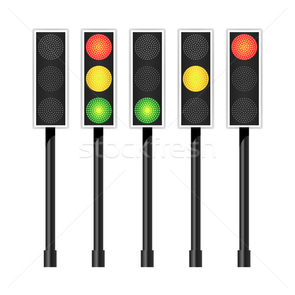 Road Traffic Light Vector. Realistic LED Panel. Sequence Lights Red, Yellow, Green. Go, Wait, Stop S Stock photo © pikepicture