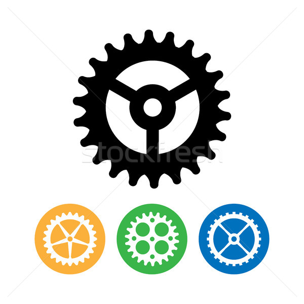 Vector Clock Gears. Flat Vector Clock Gears. Clock Mechanism Icons Isolated On White Background. Stock photo © pikepicture