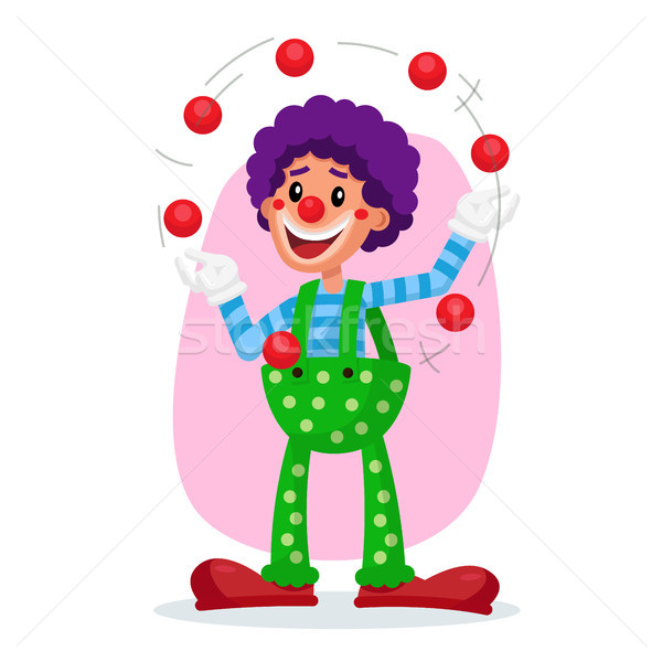 Classic Clown Vector. Amazing Public Circus Show. Man Juggling Balls. Flat Cartoon Illustration Stock photo © pikepicture