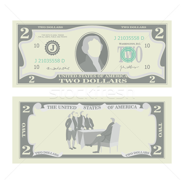 2 Dollars Banknote Vector. Cartoon Stock photo © pikepicture
