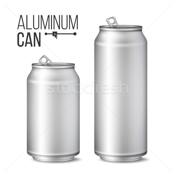 Blank Metallic Can Vector. Silver Can. 3D packaging. Mock Up Metallic Cans For Beer Or Soft Drink. 5 Stock photo © pikepicture