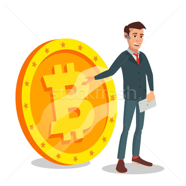 Businessman Standing With Big Bitcoin Sign Vector. Digital Money. Cryptocurrency Investment Concept. Stock photo © pikepicture