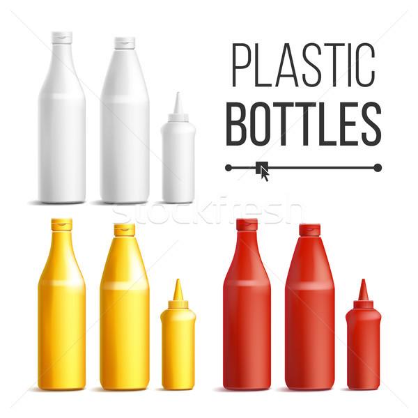 Fehér piros citromsárga műanyag üvegek vektor Stock fotó © pikepicture