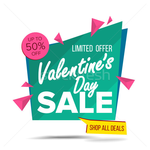 Valentine s Day Sale Banner Vector. Website Sticker, February 14 Web Page Design. Big Super Sale. On Stock photo © pikepicture