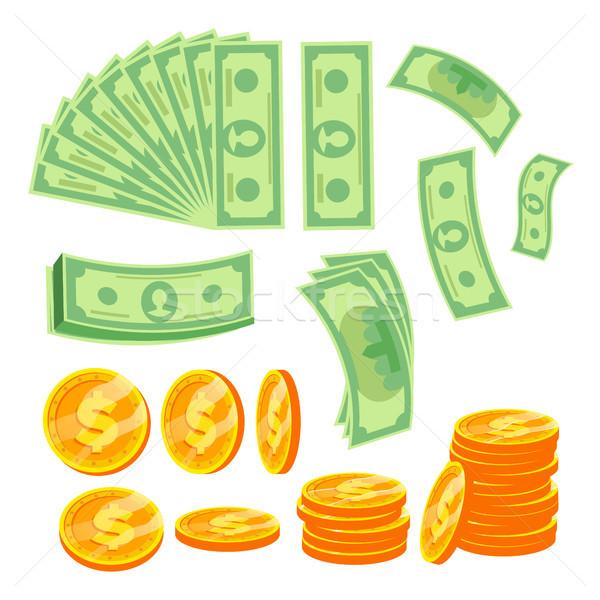 деньги вектора бумаги доллара Золотые монеты различный Сток-фото © pikepicture