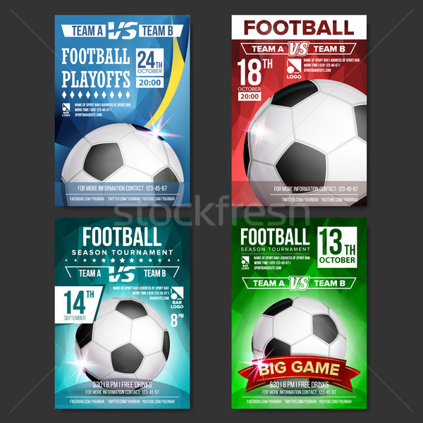 Soccer Poster Set Vector. Design For Sport Bar Promotion. Football Ball. Modern Tournament. Sport Ev Stock photo © pikepicture