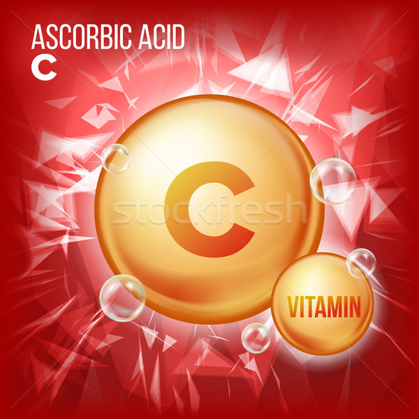 Vitamin C Ascorbic Acid Vector. Organic Vitamin Gold Pill Icon. Medicine Capsule, Golden Substance.  Stock photo © pikepicture