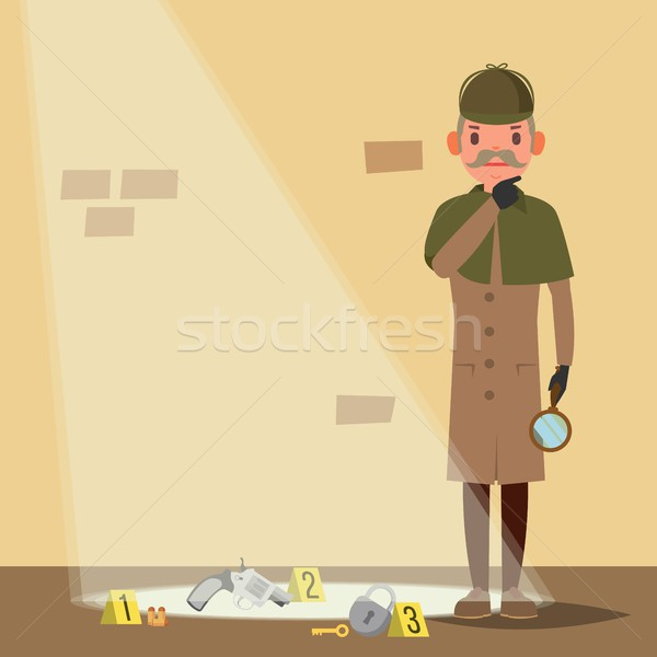 Crime Scene Vector. Detective Character Man. Crime Scene Investigation. Snoop, Shamus. Flat Cartoon  Stock photo © pikepicture