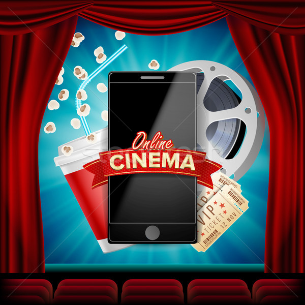 Online Cinema Vector. Banner With Mobile Phone. Red Curtain. Theater. 3D Online Cinema. Template For Stock photo © pikepicture