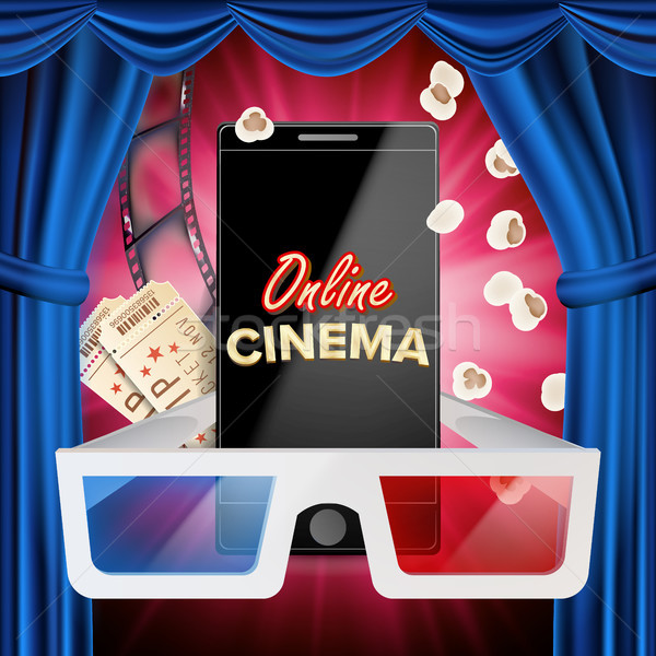 Online Cinema Banner Vector. Realistic Smart Phone. Template For Placard, Promotion Material. Blue C Stock photo © pikepicture