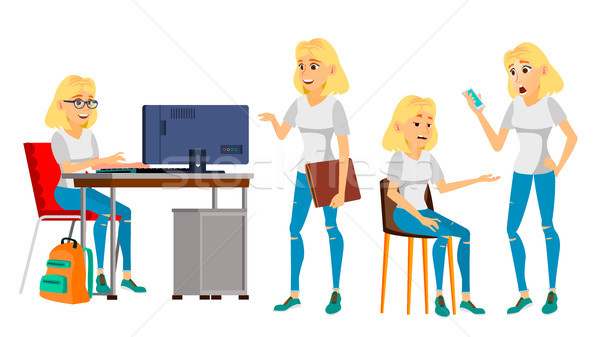 Business Woman Character Vector. Female In Different Poses. Clerk In Office Clothes. Designer, Manag Stock photo © pikepicture