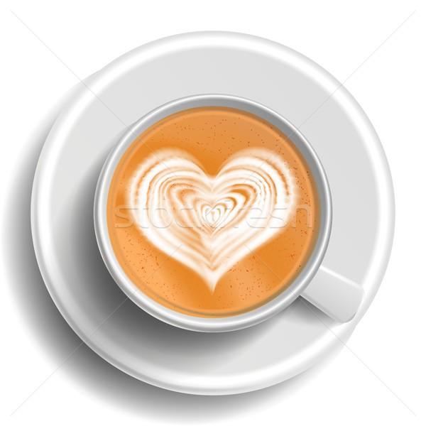 Stockfoto: Koffie · kunst · vector · beker · top