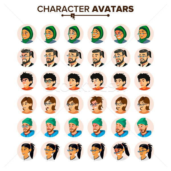 Business People Avatar Set Vector. Man, Woman. Face, Emotions. Cartoon Illustration Stock photo © pikepicture