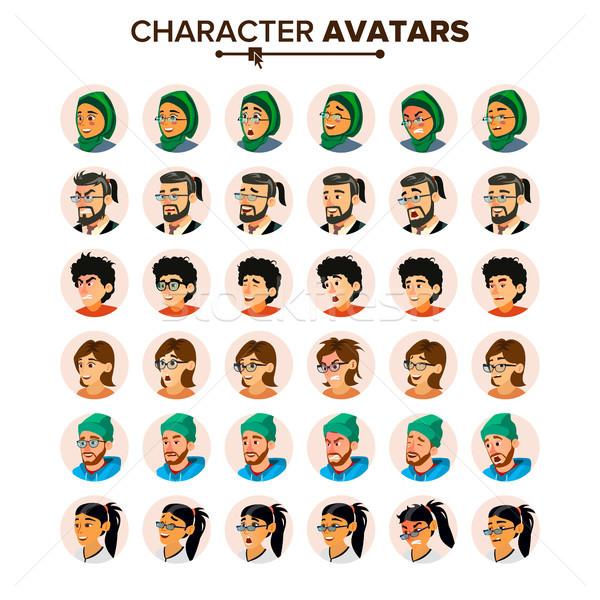 üzletemberek avatar szett vektor férfi női arc Stock fotó © pikepicture